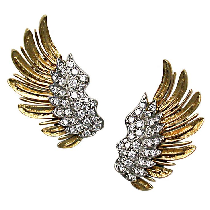 Wing Gold >> McTeigue & Co. Gold & Diamond Wing Earclips | Aretes | Pinterest | Joya y Accesorios