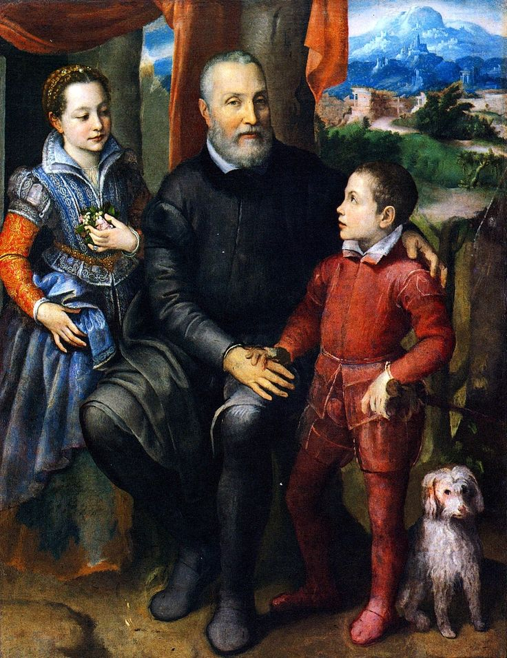 Portrait of the Artist's Family: Her Father Amilcare, Sister Minerva, and Brother Asdrubale by Sofonisba Anguissola, c. 1560