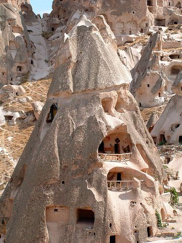 Uçhisar - Cappadocia, Turkey, UNESCO World Heritage Site Göreme National Park and the Rock Sites of Cappadocia.