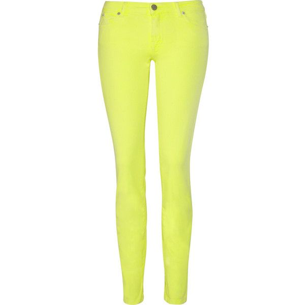 Karl Lagerfeld Dina neon low-rise skinny jeans ($230) ❤ liked on Polyvore featuring jeans, pants, bottoms, pantalon, low rise jeans, studded skinny jeans, neon jeans, yellow skinny jeans and skinny jeans