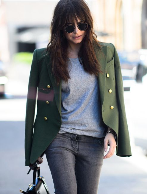 olive green double breasted blazer