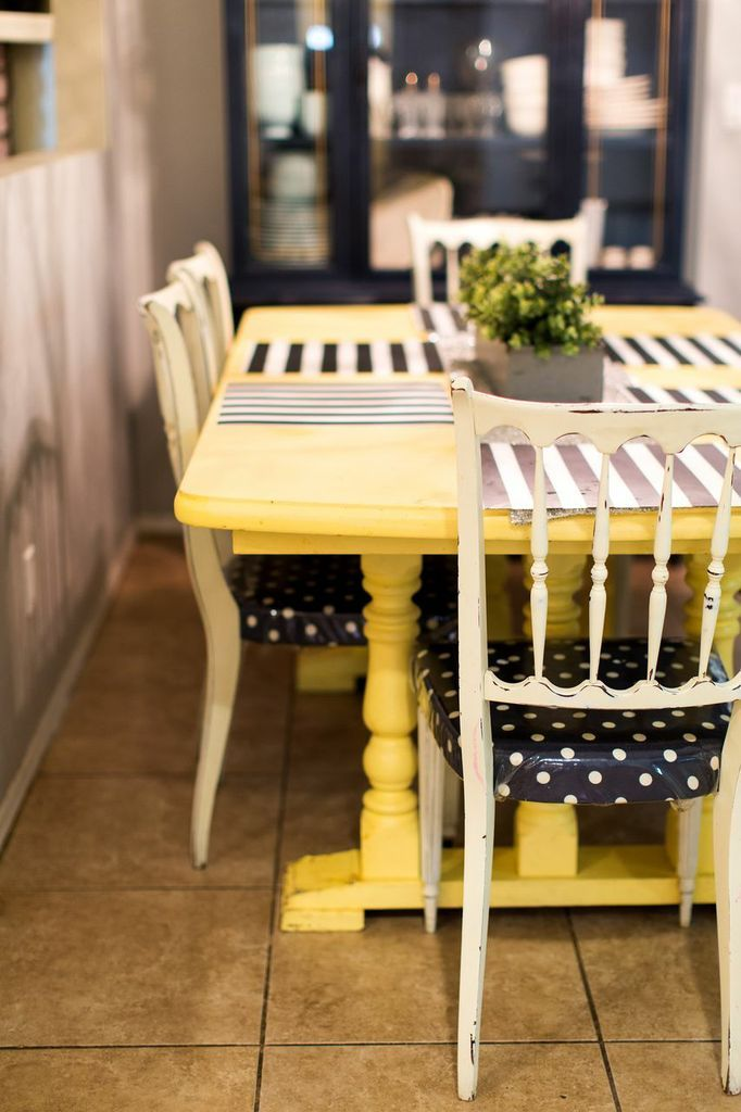 Dining Room Part 1 Trestle Table Yellow Table And Polka