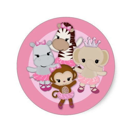 tu tu cute balerina monkey | GIRL MONKEY Tu Tu Cute Baby Shower sticker/seal #1 from Zazzle.com
