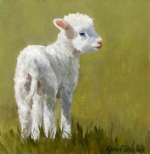 "Daily Paintworks - ""Marys Lamb"" - Original Fine Art for Sale - © Karen Johnston"