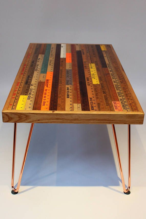 Us Yardstick Ruler Coffee Table With Copper Hairpin Legs Coffee