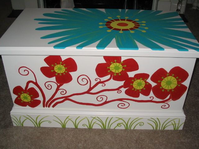 Perfect for a little girl's room! Hand painted hand made chest!