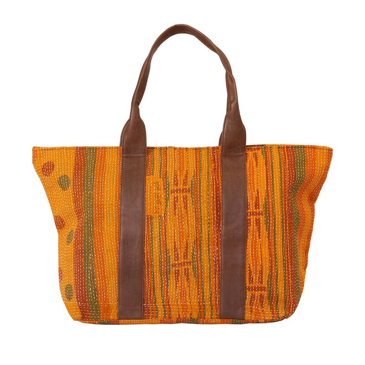 Vintage Kantha Handbag - Orange from The Hues of India  This bag is handcrafted using vintage fabric from old saris. The Kantha running stich brings together the patches of different vintage saris and forms into a beautiful handbag.