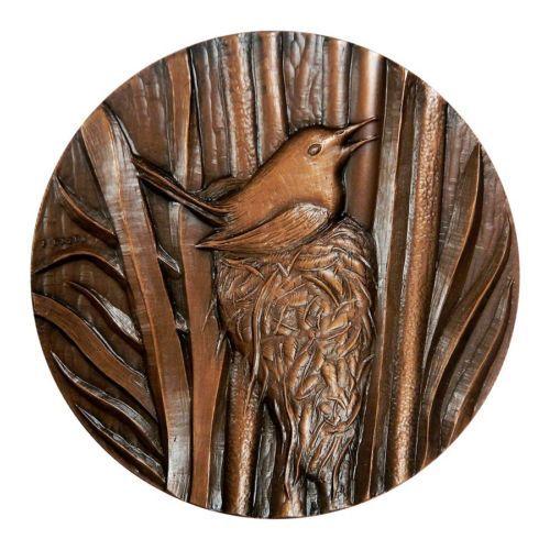 TACHURIS RUBIGASTRA CHILE BIRD MEDAL PAJARO 7 COLORES MEDALLA COPPER