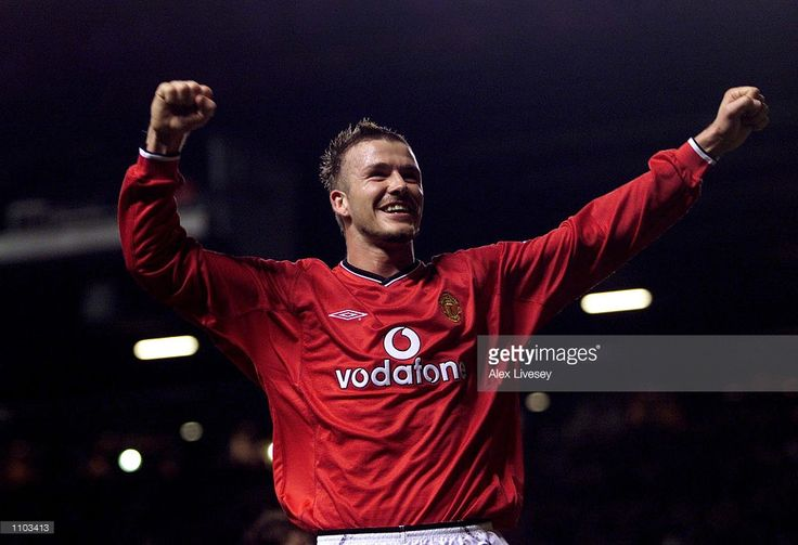 David Beckham of Man Utd celebrates after scoring the third goal during the Manchester United v Tottenham Hotspur FA Barclaycard Premiership match at Old Trafford, Manchester. DIGITAL IMAGE Mandatory Credit: Alex Livesey/Getty Images
