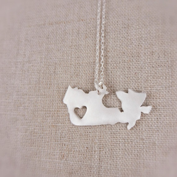 Canada Necklace in Silver with Heart Cutout by DestinysCreations, $55.00