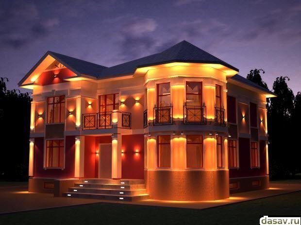 Подсветка дома, в результате дает замечательный внешний вид дому