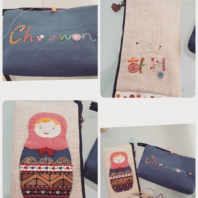 #embroidery #wool#vintage #antique#quilt#brooch#handmade#needleworks#handcraft#ribbon#리본자수#프랑스자수#평택자수 #자수타그램 #엔틱자수 #게으른울실#자수수업  초등학생 입학 딸냄과 중학교입학 조카를 위해 만든 정성가득 필통입니다🎁🎀 조카의 이름으로 한땀 한땀 자수를. 영어를 모르는 딸을위해 한글로 써주는 센쓰까지😄  입학하는 모든 초.중.고.대학생등 모두모두 축하합니다🎉🎊 #정작 내딸것은없다#돈주고사라했다
