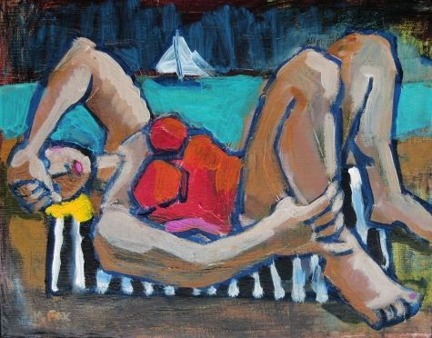 Yellow Hair, figurative painting, woman at beach, figure in art, modern figurative art, figuration, painting by artist Marie Fox