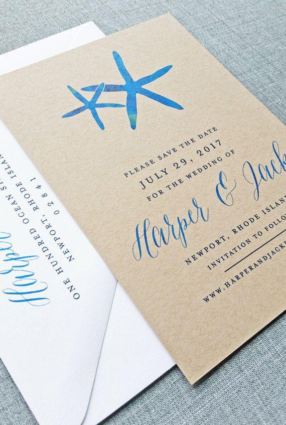NEW Harper Watercolor Starfish Kraft Wedding Save the Date