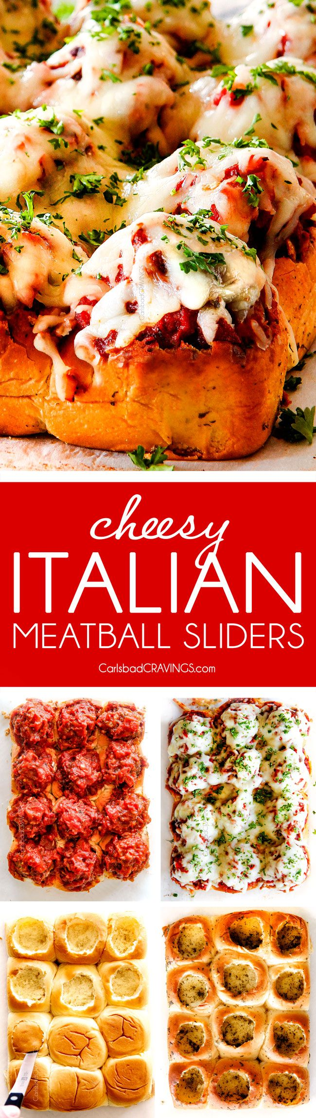 These Cheesy Italian Meatball Sliders are my favorite party food ever and my family loves them for dinner!  The meatballs are the BEST (so tender and juicy!) and the marinara is amazing and I love how they are individual sliders instead of meatball subs!  I can't recommend these enough!