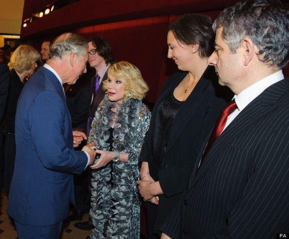 Prince Charles with Joan Rivers, Miranda Hart, and Rowan Atkinson