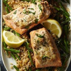 Dijon Salmon with Green Bean Pilaf - EatingWell.com (=)