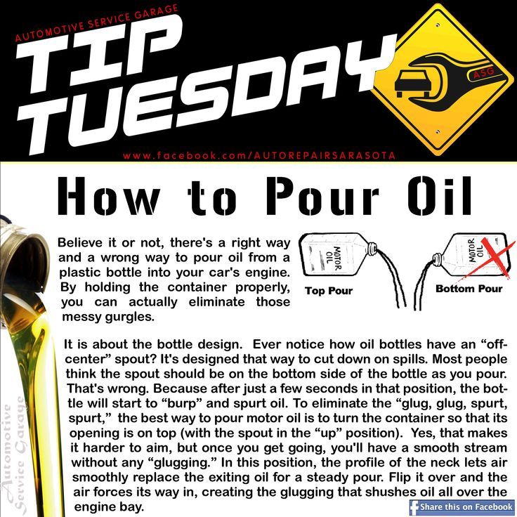 "Car Care Tip: The best way to pour motor oil with an ""off-center"" spout is to turn the container so that its opening is on top (with the spout in the ""up"" position). ll Auto Repair - Automotive Service Garage - Sarasota, FL http://www.srqautorepair.com/"