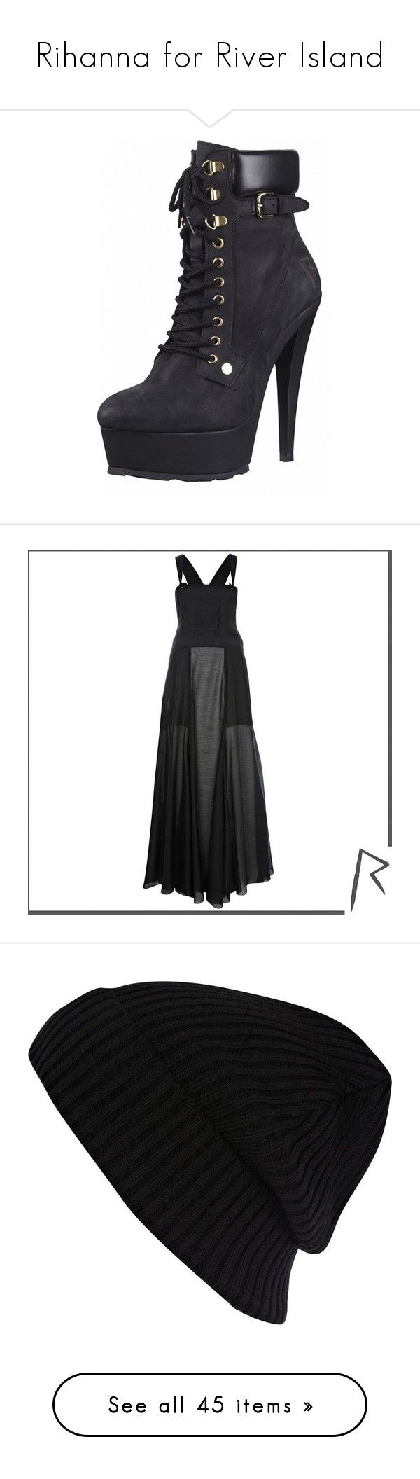 """""""Rihanna for River Island"""" by missmichelera ❤ liked on Polyvore featuring shoes, boots, heels, sapatos, dresses, river island, sale, grunge dress, river island dresses and transparent maxi dress"""