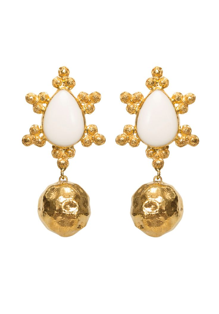 Mireille Earrings Gold & White | Christie Nicolaides