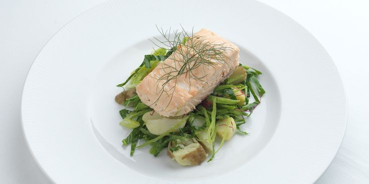 A fragrant tea smoked salmon recipe from chef Graham Campbell with a delicate new potato and spring green salad.