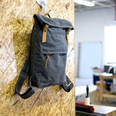 The Backpack in gray waxed canvas: Slate Wax, The Special, Canvas Leather, Canvas Rucksack, Wax Canvas, Waxed Canvas, Canvas Backpacks, Big Bags, Gray Wax