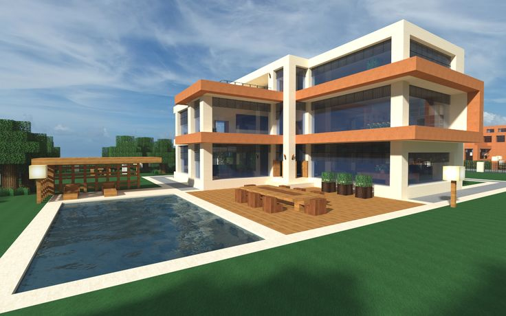 Modern minecraft home and pool architecture ideas for minecraft