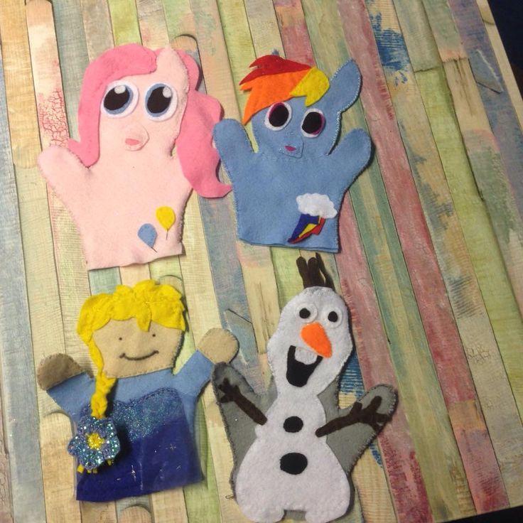 Diy handpuppets my little pont, olaf and elsa
