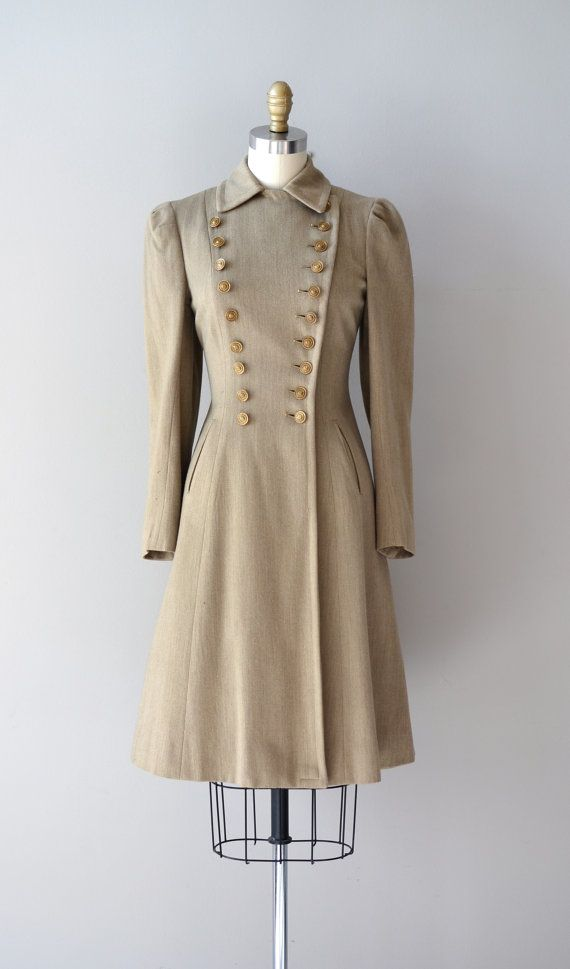 vintage 1930s coat / Hi-Ho wool military coat