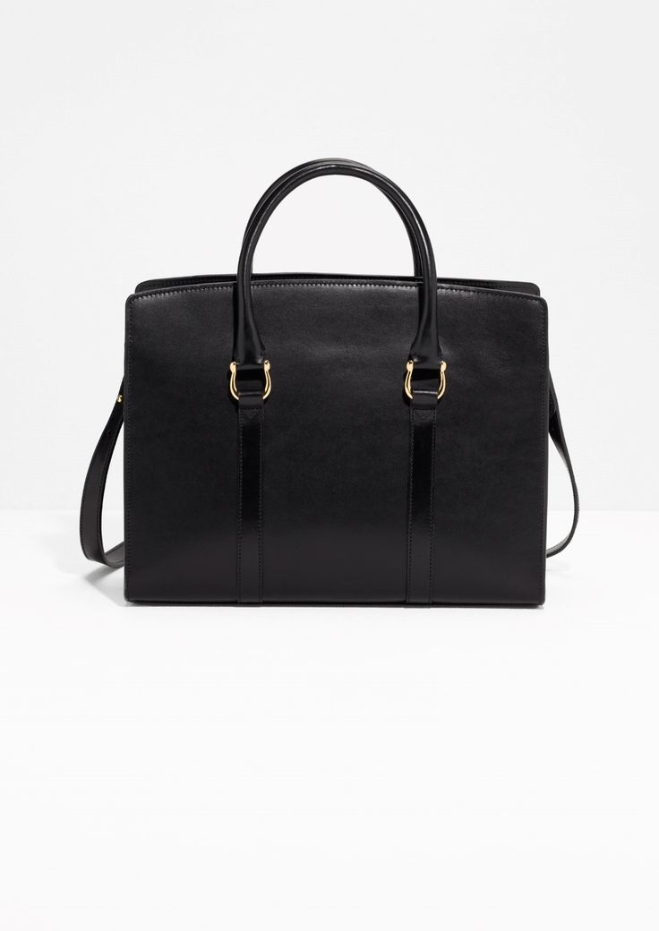 & Other Stories image 1 of Leather City Tote Bag in Black