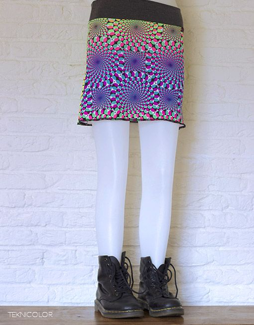 Psychedelic, tekno, goa skirt with Space Tribe fabric made by Teknicolor