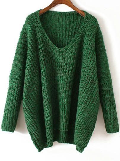 V Neck Chunky Knit Green Dolman Sweater