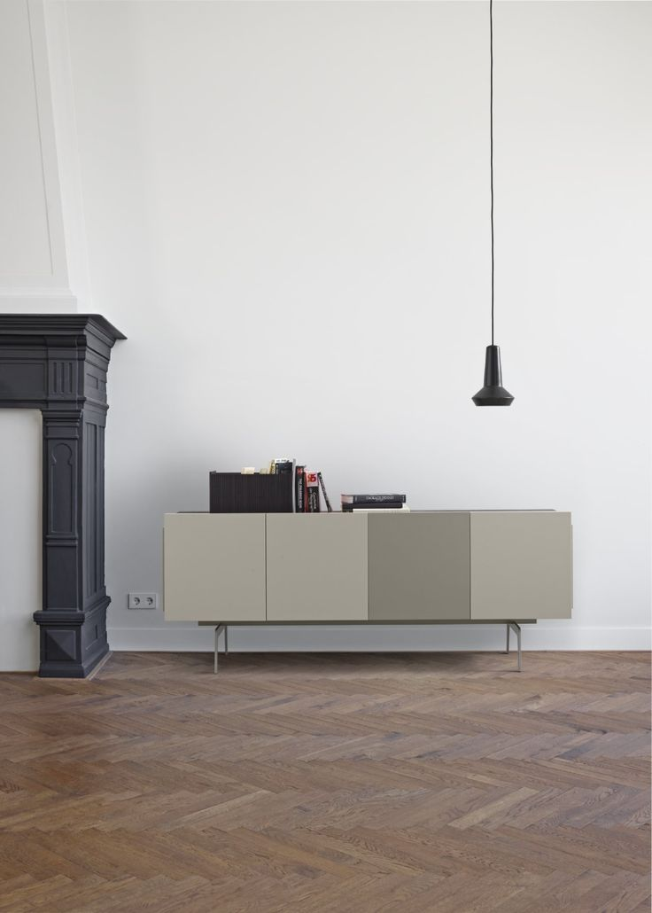 Mixte expands with a sideboard. Designed as a fixed 4-bay size 182 x D 47 x H 71 cm, the left side comprises a double-door cupboard, followed by a single door space. The final right quarter may be a cupboard, a set of 2 drawers or an opn niche. Play around with texture and colour between rough-sawn oak (natural, argile or anthracite) and mastic,white, argile or elephant-brown lacquers. Add a touch of mustard for impact.