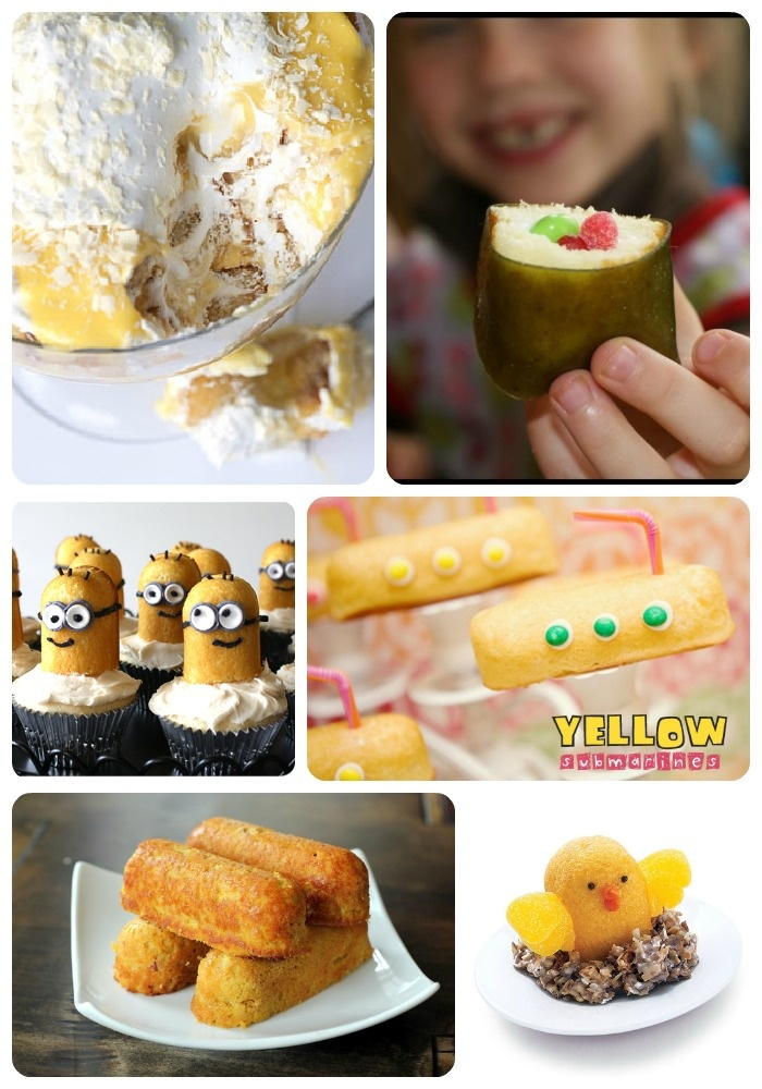 """""""A tribute to the twinkie""""! Over 30 ideas using Hostess snacks from SomewhatSimple.com.....I love the minion cupcakes!! So cute!!"""