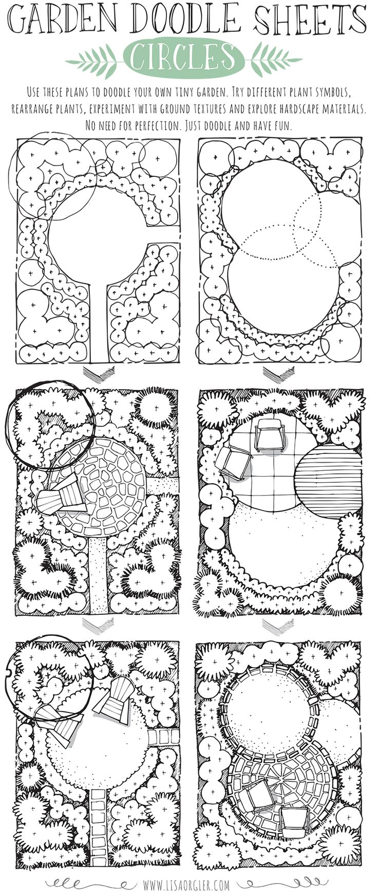 If you have the opportunity to enjoy a spring break, take time to relax and  doodle some garden ideas.Grab a pen and explore different ways you might  design the spaces below. Try different plant symbols, ground textures and  hardscape materials.Both plans incorporate the circle as the main  structure. How would you create a tiny garden with a circle theme? Click on  the image below to download a .pdf of the plans to doodle yourself.  For additional garden doodle sheets, please click…