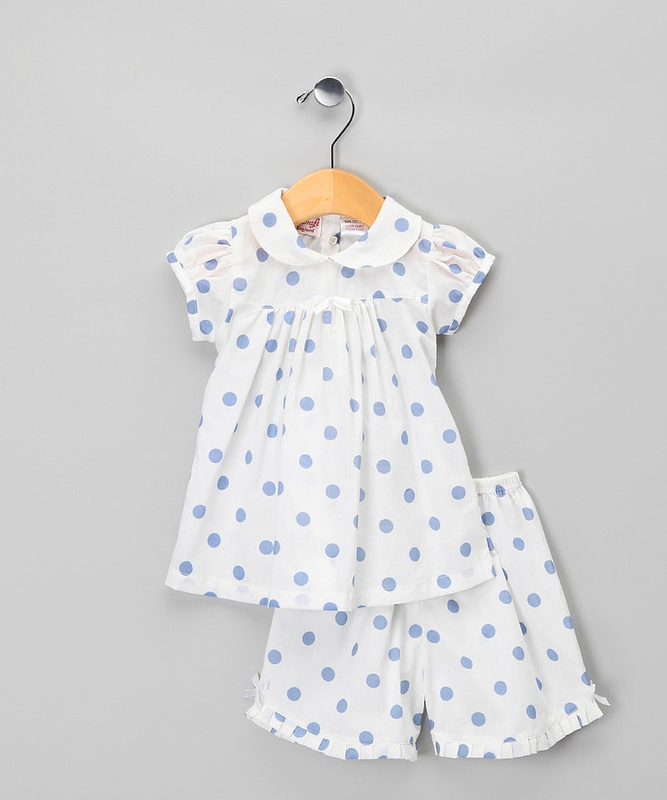 White & Blue Polka Dot Tunic & Shorts by Powell Craft on #zulily
