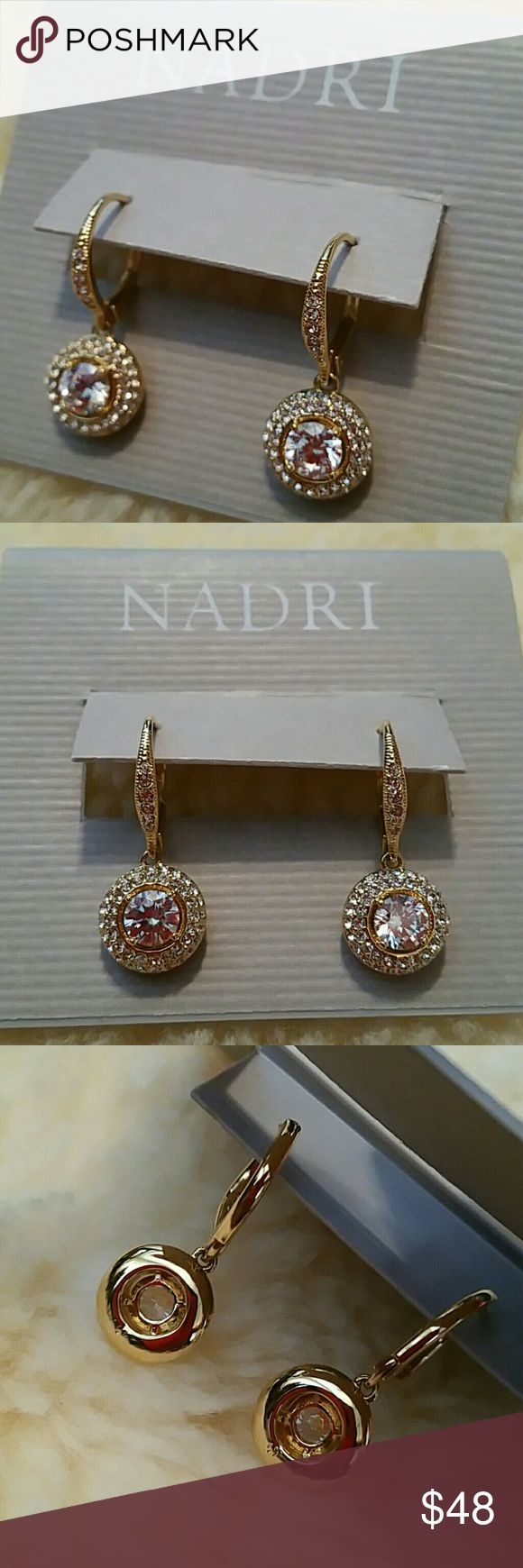 "Nadri 18K gold CZ crystal drop leverback earrings Nordstrom Nadri 18K gold CZ crystal drop leverback earrings 6mm prong set CZ framed with pave crystal encrusted circle dangles Crystal encrusted Euro-wire leverbacks Approx 1"" overall drop, 1/2"" diameter dangle Brand new and unused with earring card Will ship in a decorative organza giftbag Nadri Jewelry Earrings"