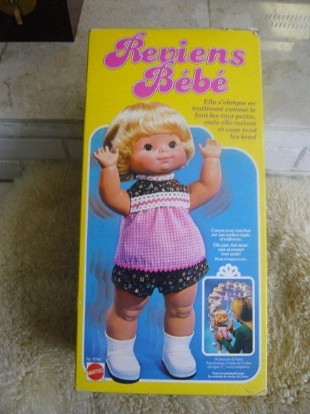 Vintage Mattel Baby Come Back Doll 1970s With Original Box
