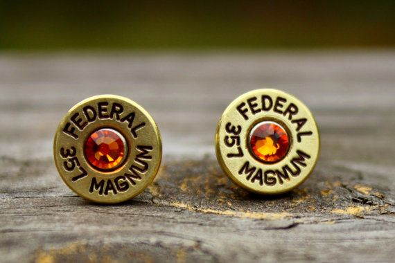 357 Magnum Bullet Earrings - Brass Shell Casings - Topaz Crystals - Ammo Jewelry