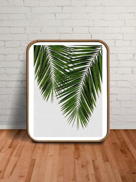 Palm Leaves Palm Print Wall Art Tropical Decor by paperpixelprints