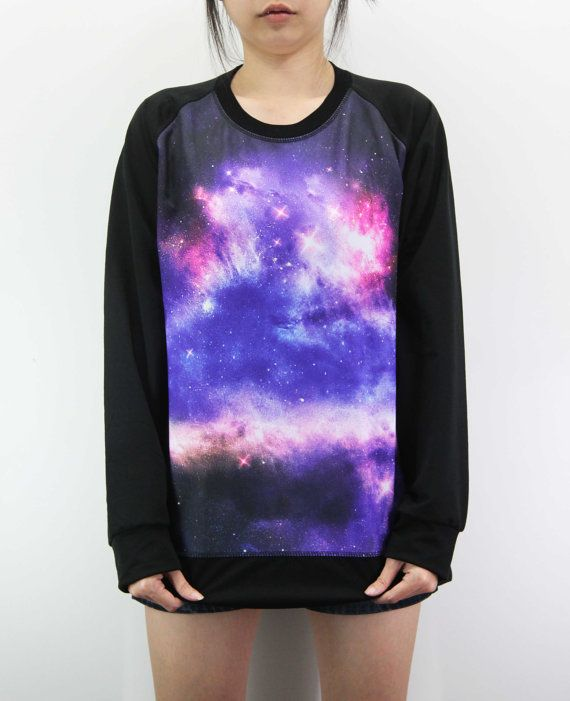 Galaxy Shirt Pink Blue Cosmic Nebula Sky Shirts by MonkeyzTShirt, $24.99