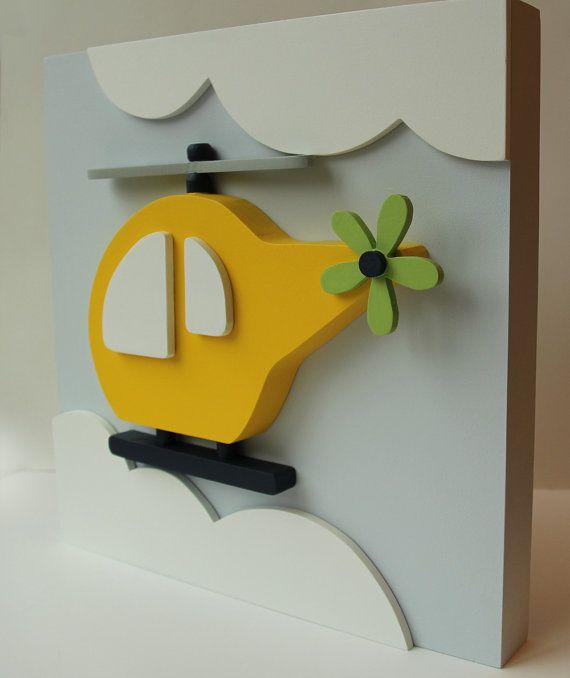 Helicóptero madera niños pared arte, 3D medios de transporte para habitaciones…
