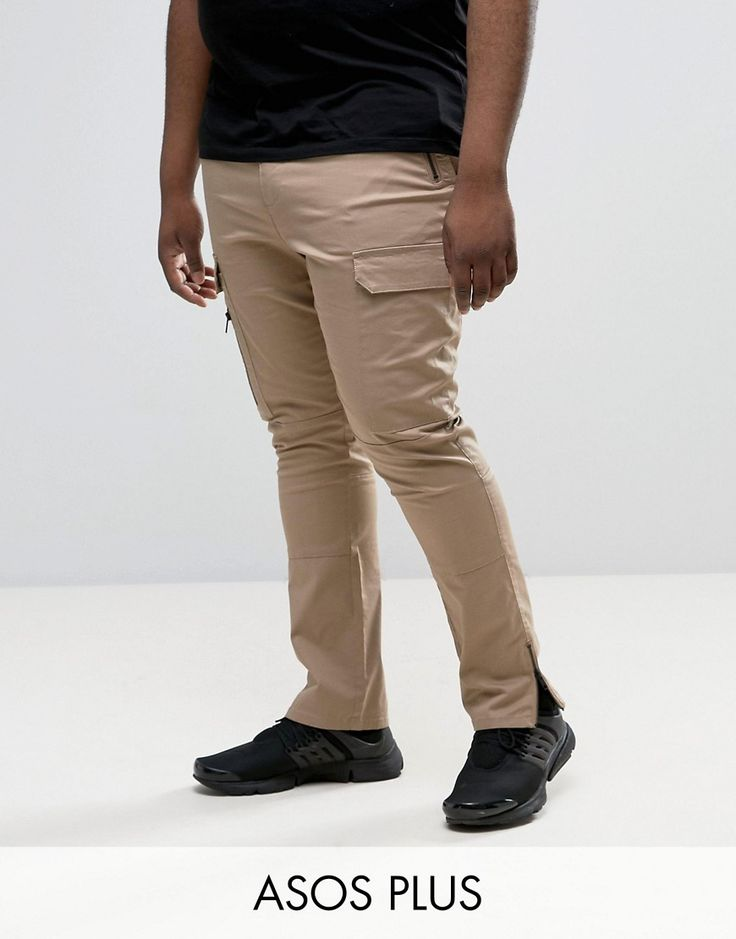 ASOS PLUS Super Skinny Fit Pants with Zip Cargo Pockets in Stone - Sto