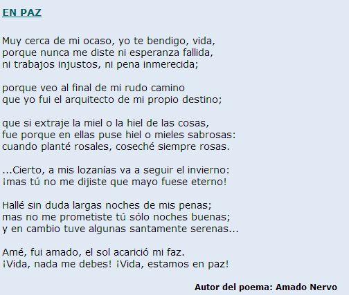 """""""En paz"""" poema de Amado Nervo"""