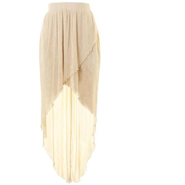 LOVE Nude Lurex High Low Maxi Skirt ❤ liked on Polyvore