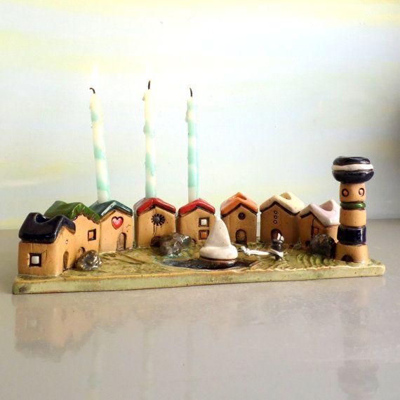 Menorah Houses Hanukkah Menorah Hanukkah gift Jewish