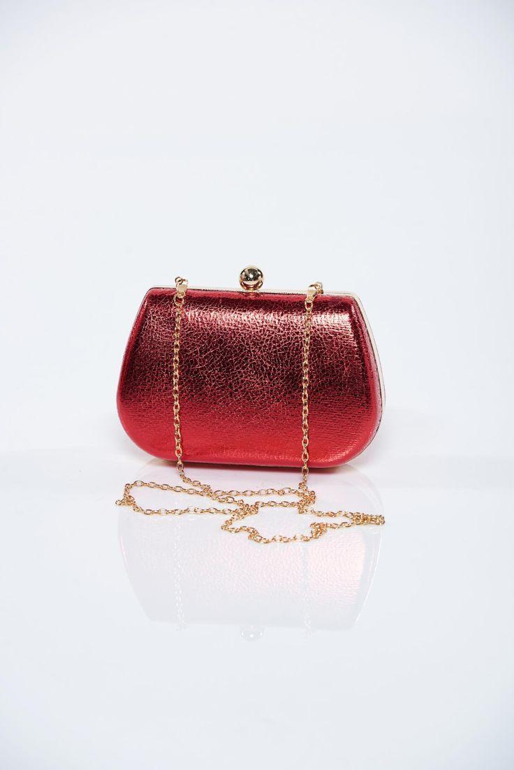 Comanda online, Geanta dama de ocazie rosie cu aspect metalic. Articole masurate, calitate garantata!