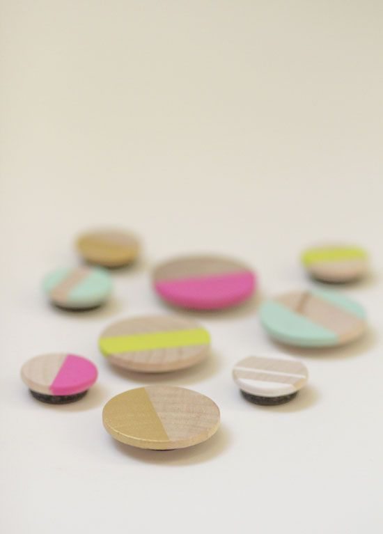 neon wood magnets...so cool...http://www.swoonstudio.blogspot.com/2012/02/make-it-neon-wood-magnets.html