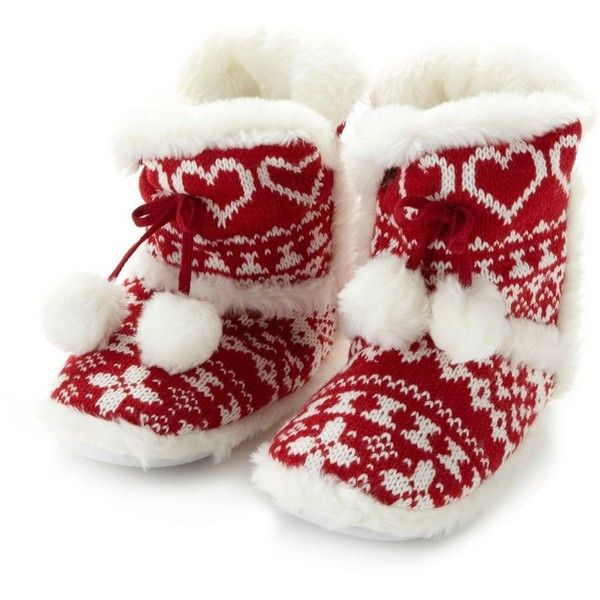 Red fairisle knitted slipper boots ($10) ❤ liked on Polyvore featuring shoes, slippers, boots and pajamas