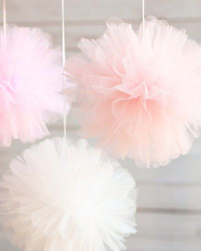 These pretty pink tulle pom poms are such a cute accessory for your little one's birthday party! Perfect for celebrating a little girl, each of the three pom poms comes in a different shade and beautifully adds texture to the decor.